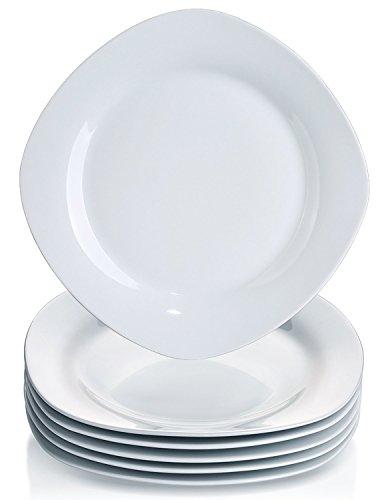 ZGHMXDD Müslischalen 10,5 Zoll Porzellan Teller, China Keramik Elfenbein Weiß Kleine quadratische Runde Servierteller Set, Set von 6, Weiß - China Teller, Weiße Quadratische