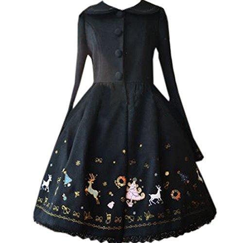 ic Embroidery Lolita Outwear Sweet Bowknot Santa Print Coat, Chinese S, Schwarz (Cosplay Kostüme Zum Verkauf Frauen)