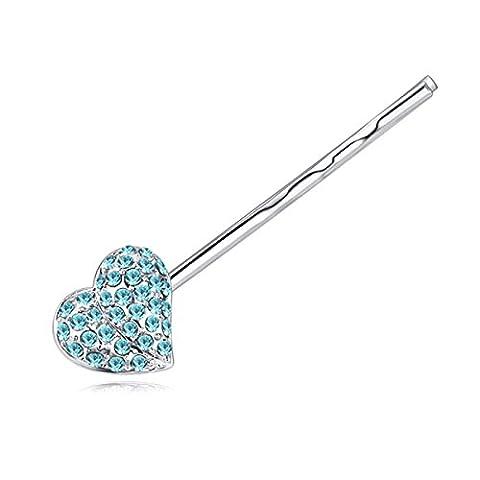 NYNPF Accessoires Cheveux Pour Les Filles Kid Mesdames Épingle Cristal Coeur Mignon Mode Brillant,Blue