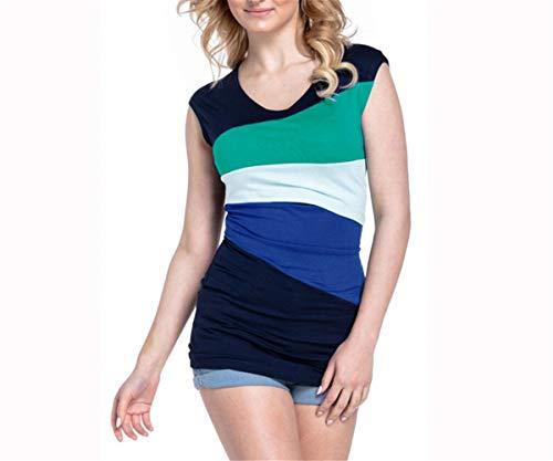 Hippolo Schwangerschaft Still-Weste Striped Tank Tops Blusen-Shirt für Schwangere Mutterschaft Stillen (S, Grün)