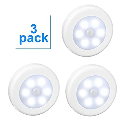 3 Pack LED Motion Sensor Night Light, Aiguozer PIR Motion Sensor LED Cabinet Lights Battery Powered Wireless Lighting Night Light Stick with FREE 3M Adhesive Pads & Magnetic for Hallway,Stairs,Wardrobe,Closet(Cool White) produced by BYEE - quick delivery