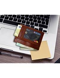 Paper Plane Design Codi Leather Visiting Card Holder For Keeping Business Cards, Debit Cards, Credit Card - Brown