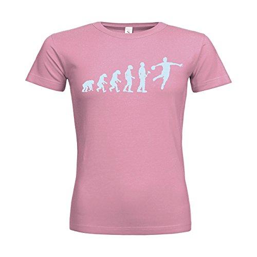 MDMA Frauen T-Shirt Classic Evolutionstheorie Handballer N14-mdma-ftc00366-336 Textil pacificpink / Motiv eisblau / Gr. XXL