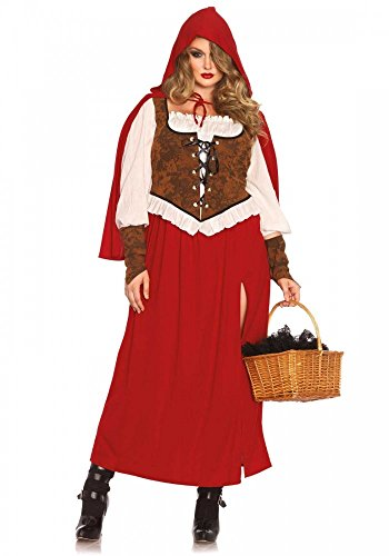shoperama Rotkäppchen lang Plus Size Damen-Kostüm von Leg Avenue - Woodland Red Riding Hood, Größe:XL/XXL (Red Riding Hood Kostüm Plus)