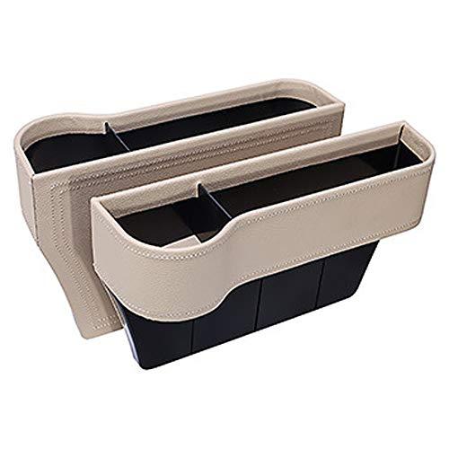 BATKING-AUTO Autositz Spalt Lagerung Box,Tasse Trinken Halter Passagier Sitz Lücke Organizer Tasche für Telefon Keys Karten,Beige,Pair -