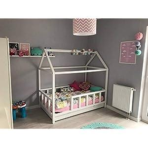 Hausbett 70×140 | Kinderbett 140×70 cm Kinderhaus mit Rausfallschutz Sicherheitsbarrieren Natur Haus Holz Bett