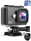 TEC.BEAN Action Camera 14MP Wi-Fi 4K Ultra-HD Action Cam, Telecamera Sport Impermeabile Fino a 45m, Videocamera con Obiettivo Grandangolare da 170°, Telecomando da 2,4GHz, Batteria Ricaricabile