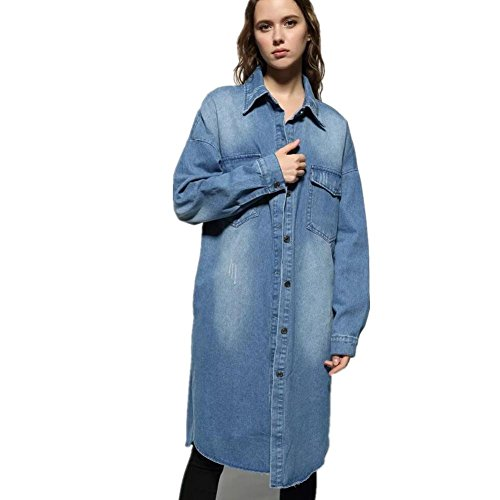 XYLUCKY Frauen einreihig Denim Trenchcoat Jacke Light Blue Double Breasted Jacke Aus Denim