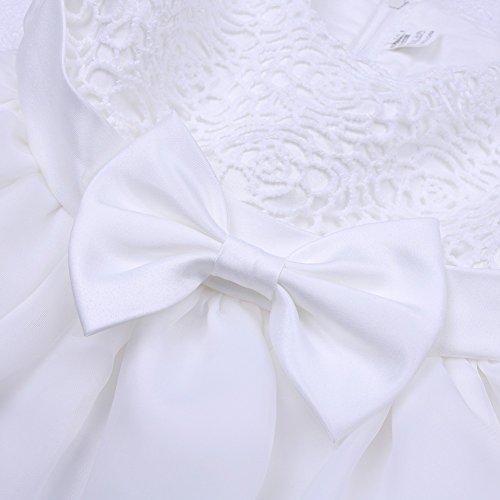 Tiaobug Baby Kleid für Mädchen weiß Taufkleider - baby festliche Kleider für Hochzeit Kommunionkleider 6-24 Monate Weiß 68-74 - 5