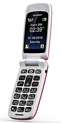 Teléfono móvil con Tapa para Personas Mayores, Teclas Grandes, Isheep SF213 gsm, Pantalla de 2,4 Pulgadas, tecla de Emergencia, cámara
