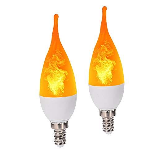 humflour Flammenlampe Led, 2pcs E14 LED Flammen-Feuer-Effekt Simulierte Natur-Glühlampe-Dekor-Atmosphären-Lampe