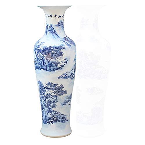 GSDQ Jingdezhen Keramik Handbemalte Blaue und weiße Landschaften große Vasen Moderne Wohnzimmer Lobby Dekoration Ornamente Flaschen Sammlungen Geschenke