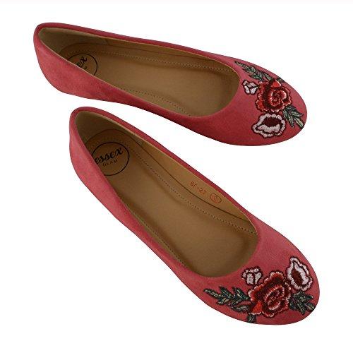 ESSEX GLAM Damen Flache Beiläufig Bestickte Schlüpfen Kunstwildleder Ballerina Schuhe Koralle Kunstwildleder