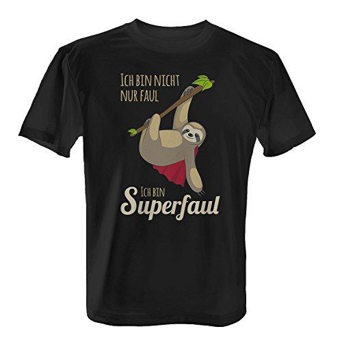 Fashionalarm Herren T-Shirt - Ich bin nicht nur faul ich bin superfaul | Fun Shirt mit Spruch als Geschenk Idee für Faulenzer & Faultier Fans, Farbe:schwarz;Größe:XL