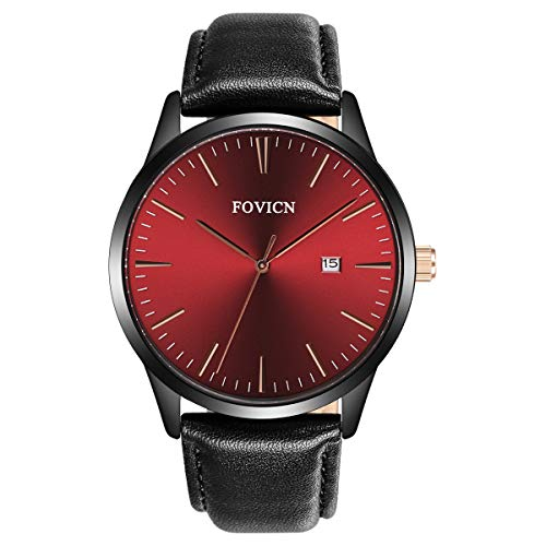 Fashion Classic Uhren Herren Dünn minimalistisch Echtem Leder Armbanduhr Analog Quarz Datum, wasserdicht, mit Schwarz Leder
