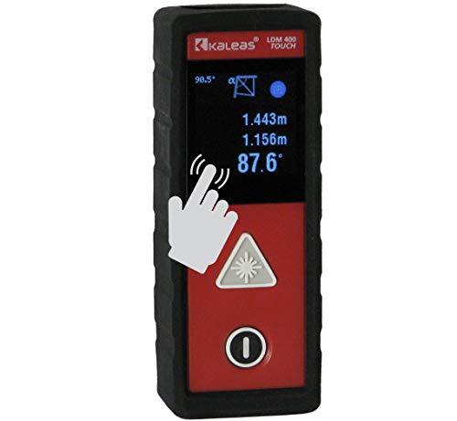 Kaleas Profi-Laser-Entfernungsmesser LDM 400 Touch für Entfernung bis 40m [Genauigkeit ±2mm] mit Touch-Screen, TPE Schutzhülle und patentierter Laser-Winkelmessung (34060)