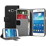 Membrane - Negro Cartera Funda Carcasa para Samsung Galaxy Express 2 II (SM-G3815 / GT-G3815) - Flip Case Cover