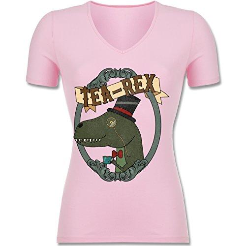 Comic Shirts - Tea-Rex - Tailliertes T-Shirt mit V-Ausschnitt für Frauen Rosa