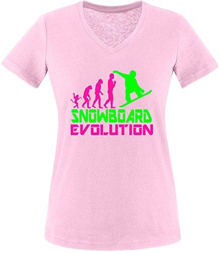EZYshirt® Snowboard Evolution Damen V-Neck T-Shirt (Hose Snowboard Evolution)