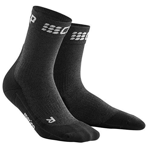CEP - Winter Short Socks für Herren | Warme Laufsocken mit Kompressionswirkung in grau/schwarz | Größe III