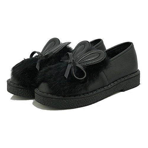 VogueZone009 Femme Tire Rond à Talon Bas Pu Cuir Chaussures Légeres Noir
