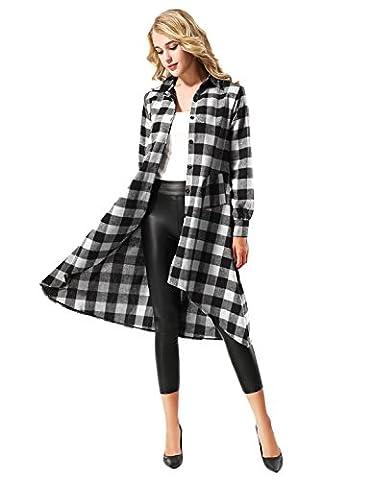 Yidarton Chemise Femme Carreaux Robe Manches Longues Casual Blouse Shirt Chemise Longue Avec Poches (XX-Large, Noir&Blanc)