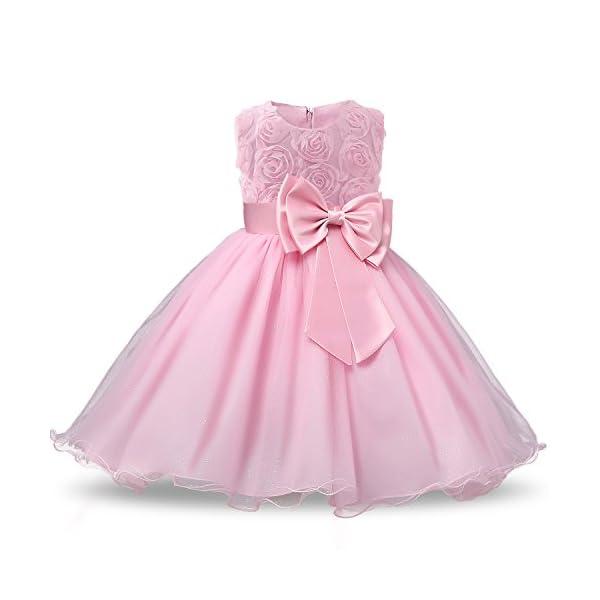 67b6a4a37 NNJXD Vestido de Fiesta de Princesa con Encaje de Flor de 3D sin Mangas  para Niñas Talla(160) 7-8 Años Rosa