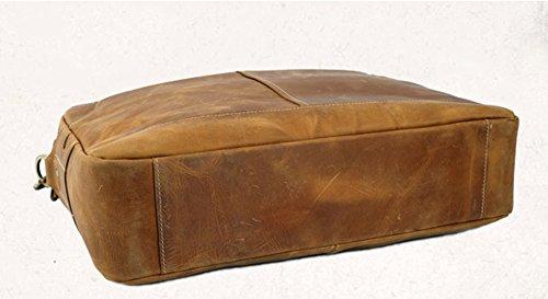 Insun , Sac pour homme à porter à l'épaule Camel Crazy Horse Leather