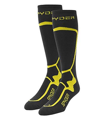 Spyder Herren Wintersport Skisport Skisocken Strümpfe Pro Liner Socks grau gelb, Größe:42-45