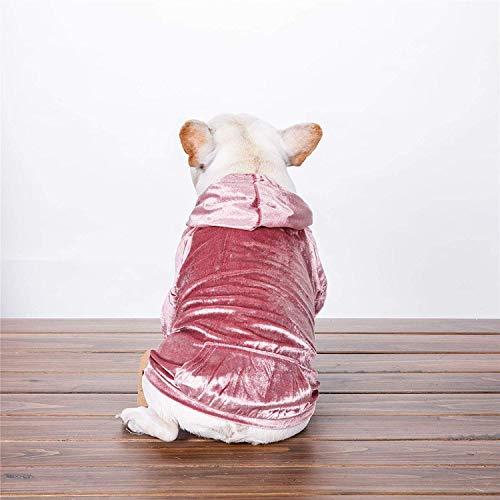 JFFFFWI Zarte Samt Hundebekleidung Teddybär Möpse Herbst und Winter tragen lässige Haustier Kapuzenpullis Sockelkleidung (Farbe: Pink, Größe: - Möpse Kostüm