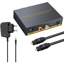 DAC Convertidor Digital Coaxial Óptico SPDIF Toslink a Audio Estéreo Analógico RCA L / R y 3.5mm Jack con Conmutador Óptico Adaptador de Audio para Apple TV ...