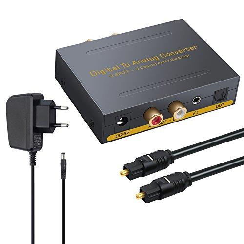 DAC Konverter Digital Koaxial Optischer SPDIF Toslink zu Analog Stereo Audio RCA L/R und 3,5 mm Klinke mit Optischer Umschalter Audio Adapter