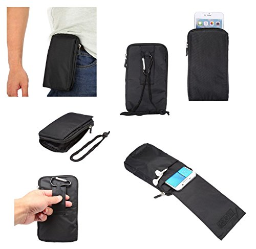 DFV mobile - Multi-Functional Universal Vertical Stripes Pouch Bag Case Zipper Closing Carabiner for => Samsung Gravity SMART > Black XXM (18 x 10 cm)