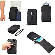DFV mobile - Multi-functional Universal Vertical Stripes Pouch Bag Case Zipper Closing Carabiner for => ALCATEL ONETOUCH IDOL ALPHA > BLACK XXM (18 x 10 cm)