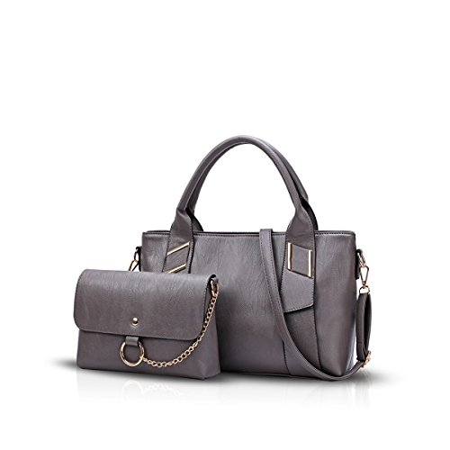 NICOLE&DORIS Mode Frauen Crossbody Handtasche 2PCS Tasche Schultertasche PU Schwarz Grau