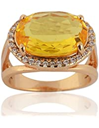Sanaa Creations Gold Plated Yellow Diamond Ring For Girl's And Women's