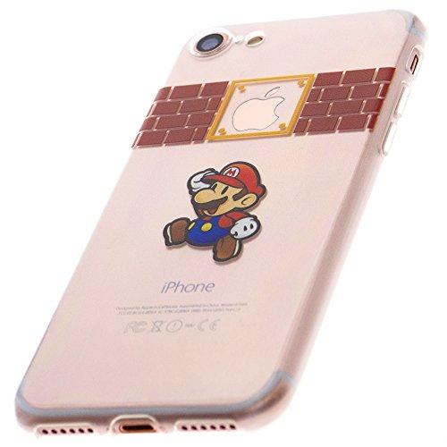 iPhone 8 Cartoon Disney Comic Hülle Schutzhülle mit süßes Motiv Transparent für Apple (Silikon, Mario)