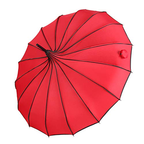 Fotografie Requisiten Prinzessin Geschenk Regenschirm Long Hand UV-Schutz Regenschirm Rainy & Sunny Colorful Pagoda Umbrellas Red 84 - Kuppel-diffusor