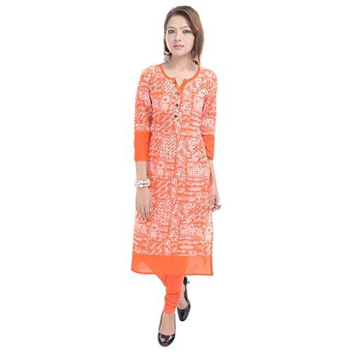 GULMOHAR JAIPUR Women's Cotton Printed 3/4 Sleeve Kurti (Orange, XL)