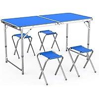MultiWare Table de Camping Portable Table Buffet Traiteur Pliante en Hauteur Réglable avec 4 Chaises Table de Pique-nique