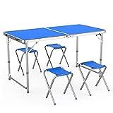multiware table de camping portable table buffet traiteur pliante en hauteur réglable avec 4