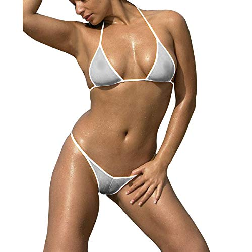 SHERRYLO Transparent Mesh Bikinis Set See-Through Swimsuit (White, S) - Thong Micro Set