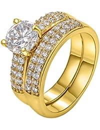 joyliveCY - Juego de dos anillos para mujer con diamante de 18 quilates, talla 52