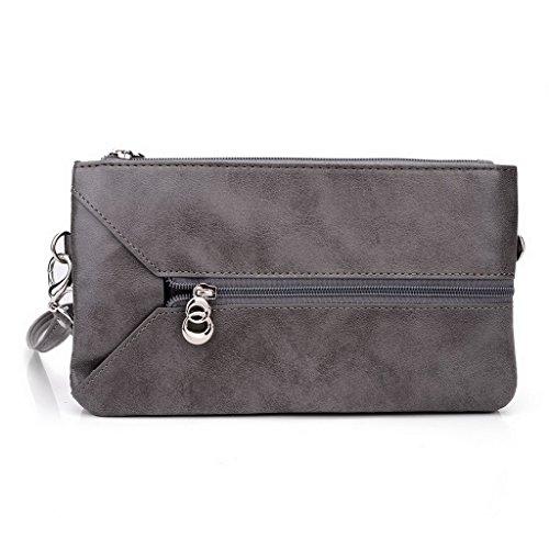 Kroo Pochette Portefeuille en Cuir de Femme avec Bracelet Coque pour Asus ZenFone Zoom ZX550 noir - Noir/rouge Gris - Grey and Magenta