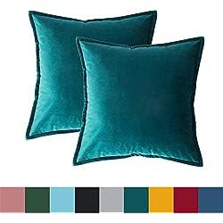 Bedsure Housse de Coussin décoratif en Velours de Noël pour canapé et lit, 2 pcs Turquoise, taie d'oreiller Housses de Coussin décor à la Maison 40 x 40 cm