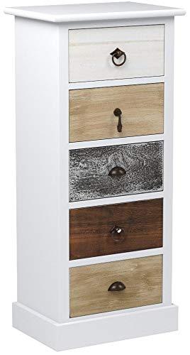 Rebecca Mobili Cómoda Color Blanco marrón Gris, cajonera pequeña, con 5 cajones, Madera de Paulownia, Estilo Retro, Muebles Entrada Dormitorio- Medidas: 83,5 x 37 x 27 cm (AxANxF) - Art. RE4157