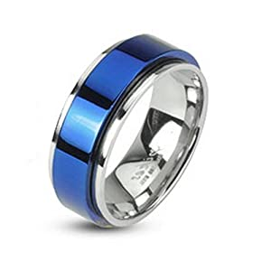 Bungsa© Ring blau-Silber – EDELSTAHLRING mit blauem Mittelring für Damen & Herren – blaues Band auf Silberring – Edler Schmuckring drehbar für Frauen & Männer/Herren & Damen