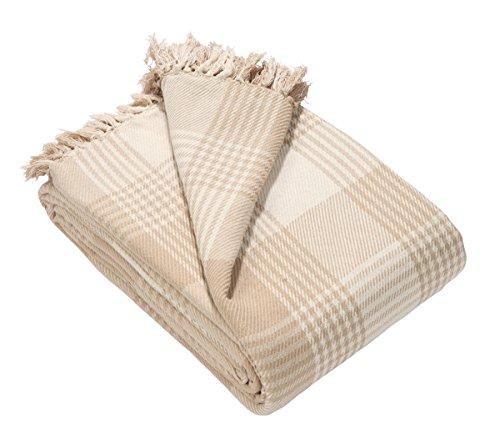 Ehc, copriletto in tartan di alta qualità, di cotone, reversibile, per il letto, la poltrona e il divano, misura 150 x 200 cm, colore rosso, cotone, beige, large/150 x 200 cm/small double
