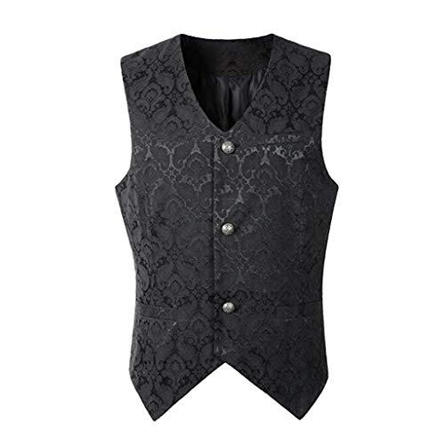Gothic Vampirin Kostüm - Dasongff Herren Gothic Mittelalter Weste Sakko Vintage Frack Jacke Retro Gothic Victorian Steampunk Coat Uniform Party Kostüm Vampir Cosplay Verkleidung Viktorianisch Vest