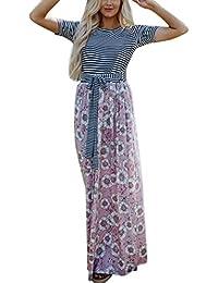 9eff0dad6ed4 Maxi Kleid Damen Partykleid Langarm Kleid Elegant Abendklei Sommer-langes  Kleid Taschen-Kurzschluss-Hülsen Dress Frauen Blumendruck…